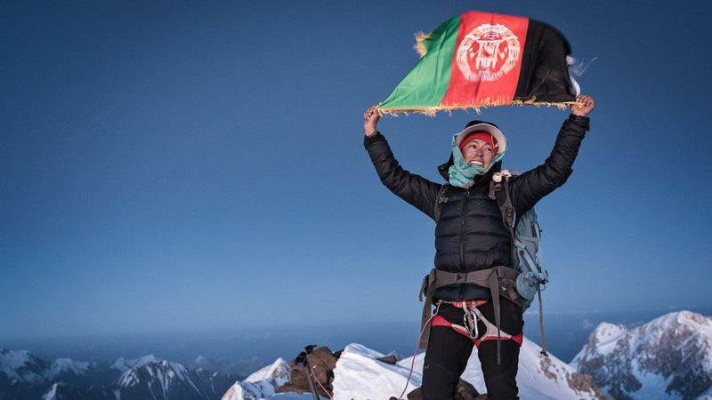 """""""Long live the girls of Afghanistan,"""" Yousoufi shouts over and over again upon reaching the summit."""