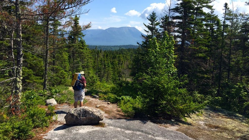 GravelBoy and first view of Katahdin, 20.9 miles via the AT.