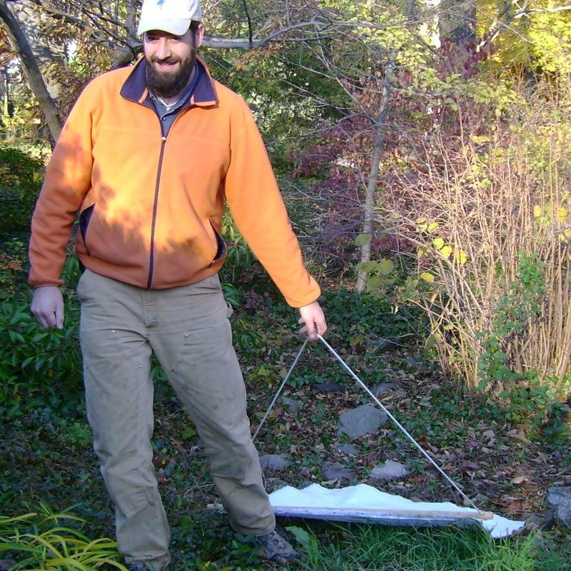 Biologist Scott Williams tick dragging in Connecticut