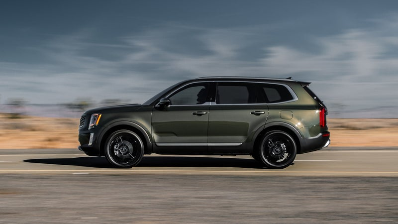 In photos, the Telluride looks taller than it is, thanks to that blocky profile. But, with just 8.0 inches of ground clearance, it's about the same dimensions as a Subaru.