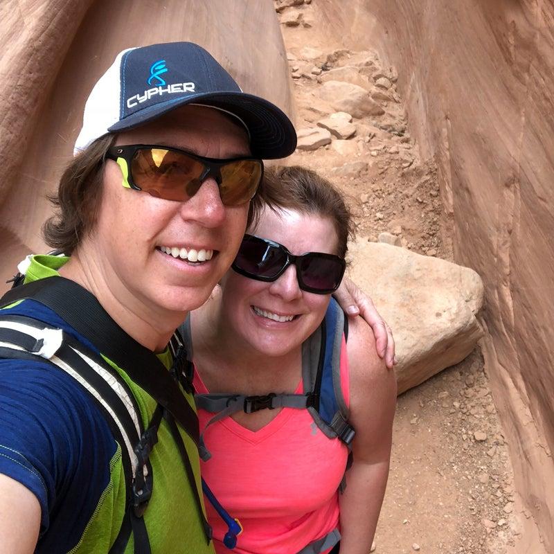 With wife Cheri, hiking in Utah's San Rafael Swell in April 2018