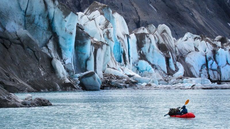 Van Hemert in a pack raft in the Arctic