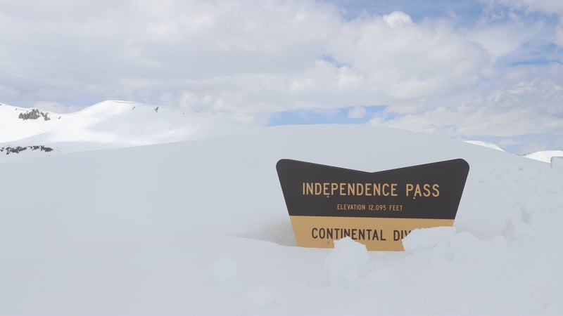 A sign marking the summit of Independence Pass