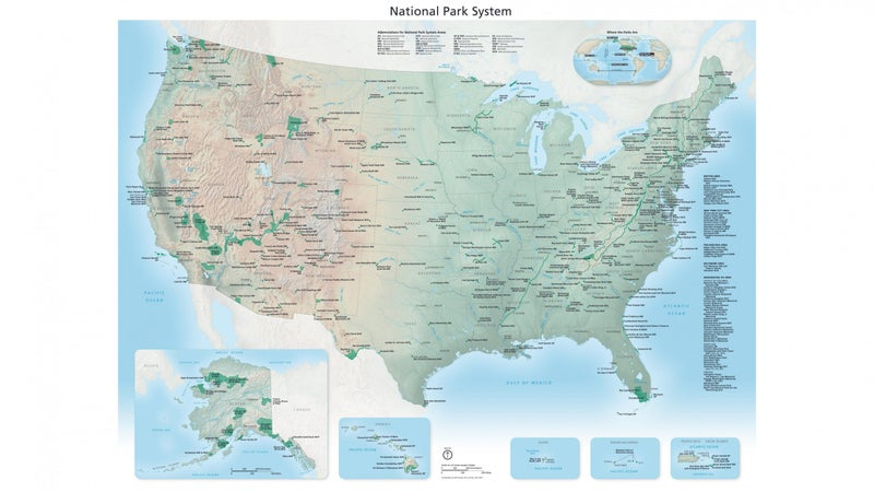 A very high-resolution shaded relief map of the entire National Park Service system.