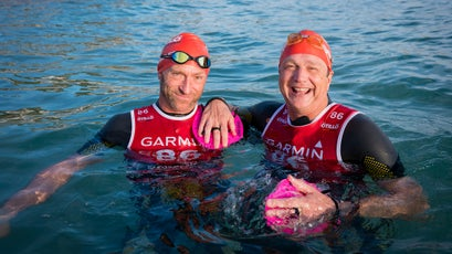 The author (at right) and Alan Schmidt joined more than 300 Ötillö World Series swimrunners in Cannes.