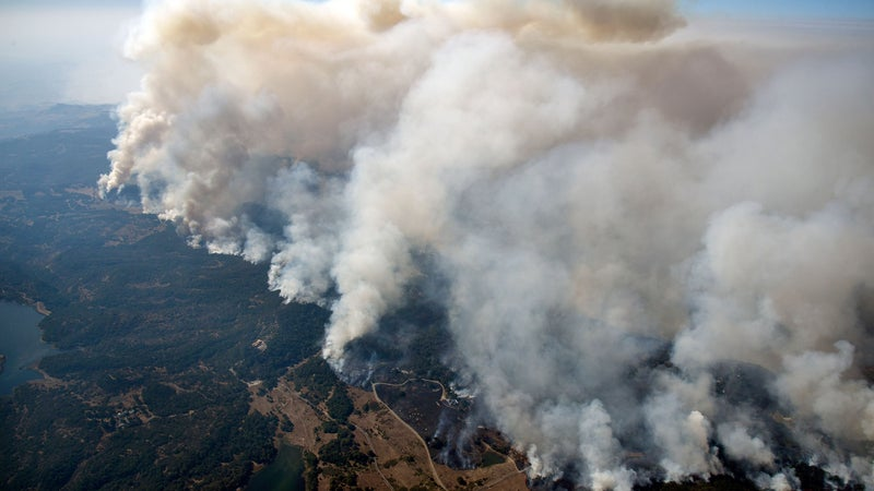 Smoke from large fires, like this one in Napa County in 2017, can affect populations thousands of miles away.