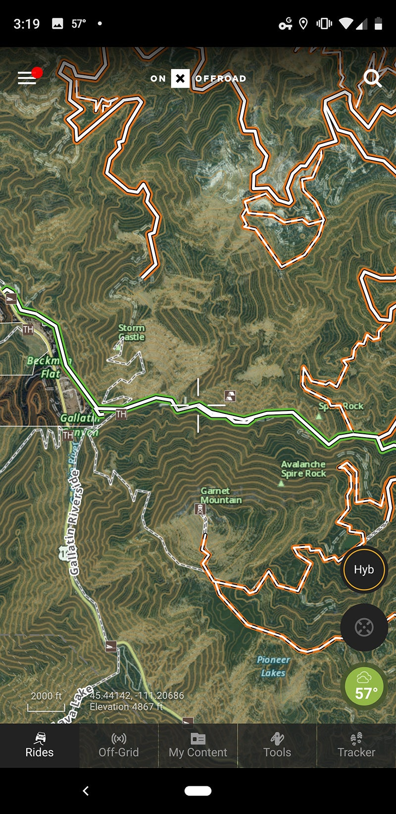Here's the general area I'd like to go. The trails that are currently open are green, and the closed ones are orange. To see when those open, I just have to click on them.