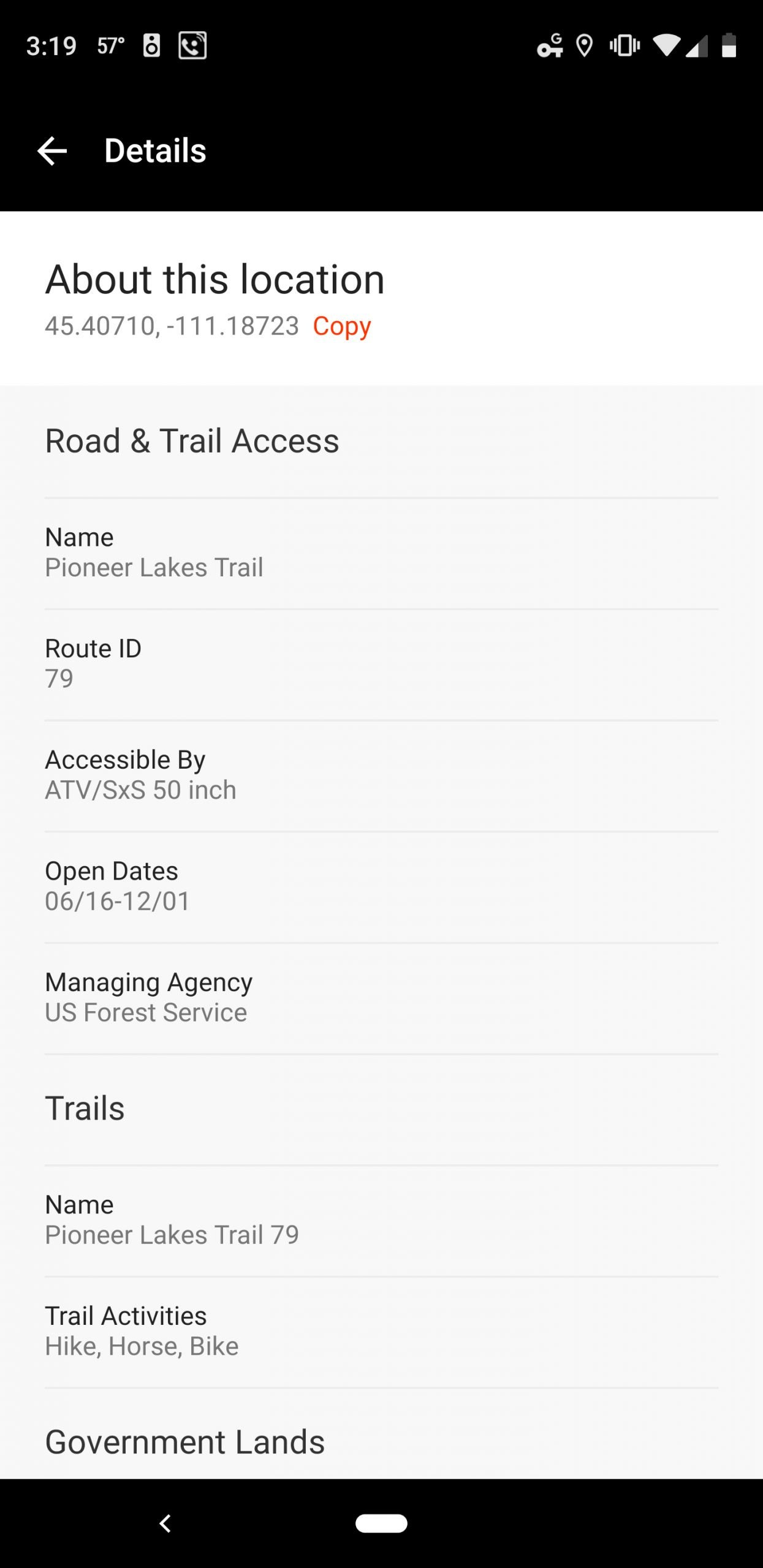 Clicking the trail I'd need to use to get to that lake brings up all its usage data. Here I can see that I'll need to use a dirt bike or ATV to get there (or hike, but it's a long way) and that the trail opens on June 16.