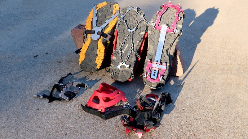 The relationship between traction and weight is inverse: the heavier the device, the better the purchase (with a rate of diminishing returns). From left to right: Pocket Cleats, MicroSpikes, and the original aluminum-spiked Kahtoola KTS crampon.
