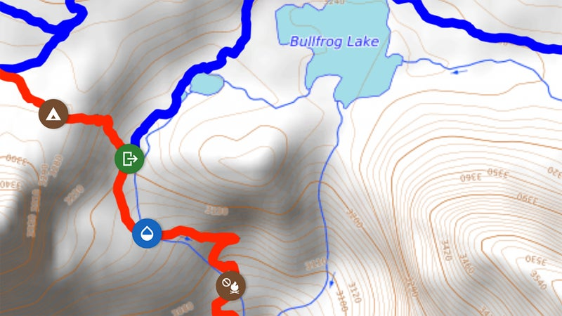 In the Guthook Guides app, virtual icons along the trail designate campsites, water sources, intersecting roads, and trail-town information.