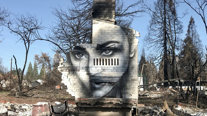 Grammer painted a mural on his friend Shane Edwards's chimney, the only thing remaining of his house.