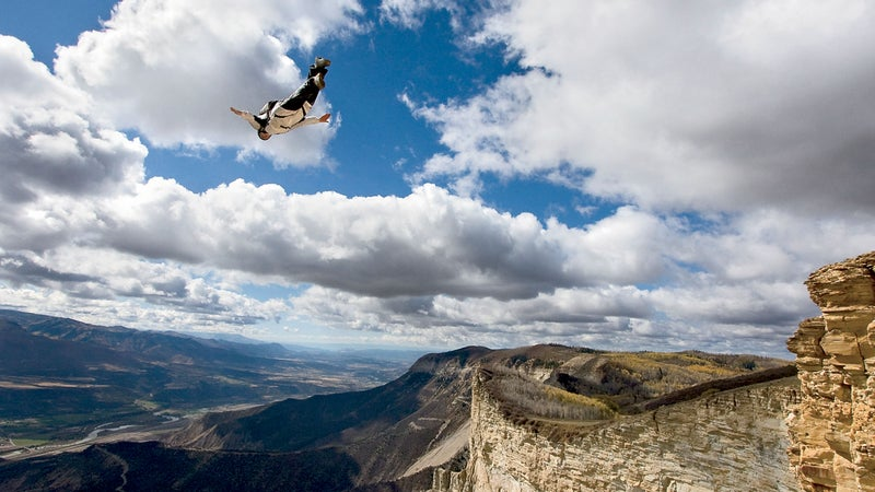 Ted Davenport BASE jumping in western Colorado