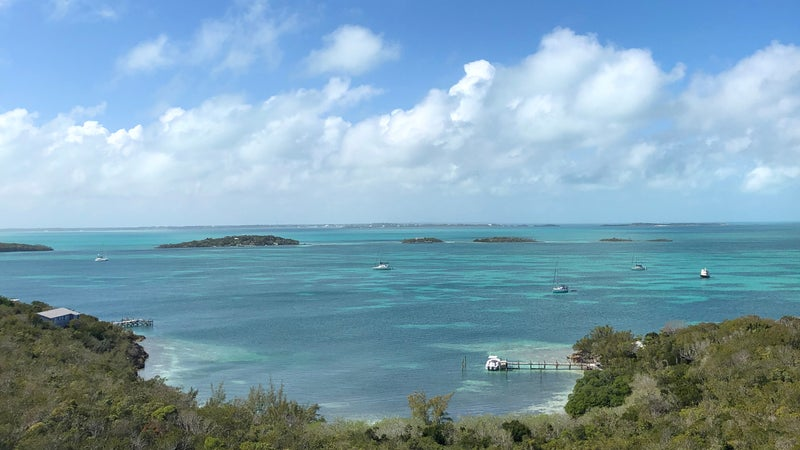 The view from Hope Town lighthouse, Elbow Cay, Bahamas