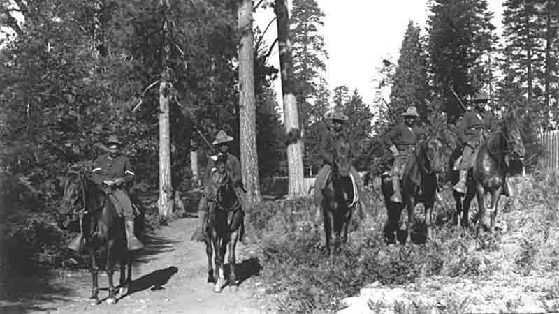 Five U.S. Army soldiers of the 24th Mounted Infantry