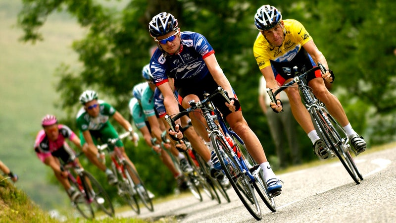 Landis riding for former teammate Lance Armstrong at the 2003 Tour de France