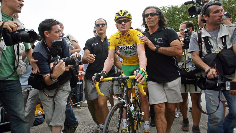 In the yellow jersey at the final stage of the 2006 Tour de France, just days before he was stripped of his title