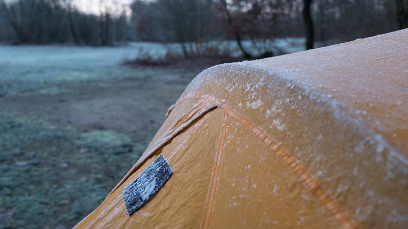 Frost is fine on the outside of a tent, but if you see it on the inside, you have a condensation issue.