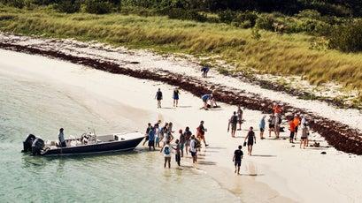 Beach cleanup in Bermuda
