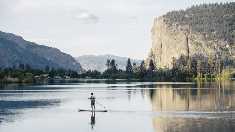 Stand up paddle boarding on Vaseux Lake in the Okanagan Valley