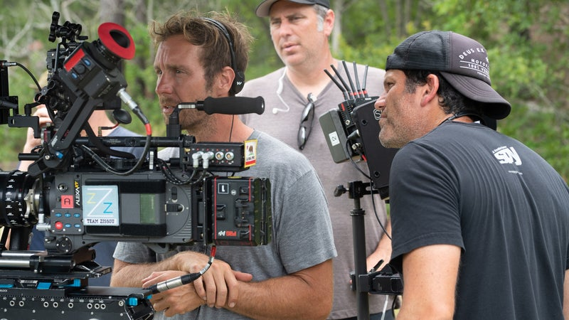 Tyler Nilson (left) and Michael Schwartz (right) on the set of 'The Peanut Butter Falcon'