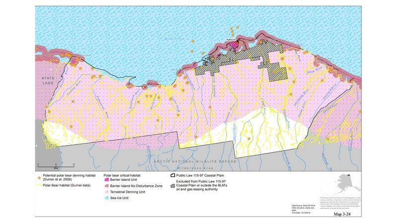 A map of polar bear habitat in the Arctic National Wildlife Refuge