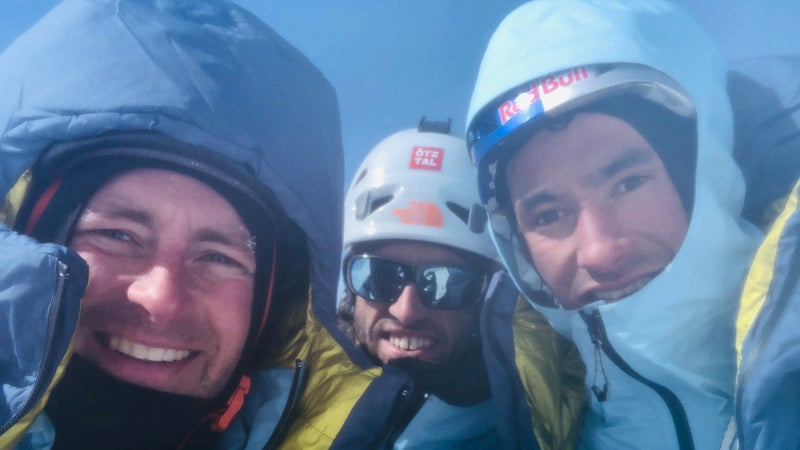 From left: Roskelley, Auer, and Lama on the summit of Howse Peak. The image was recovered from Roskelley's phone.