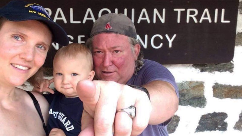 Baltimore Jack with Jen Whitcomb and her baby at Harpers Ferry, West Virginia, in July 2015