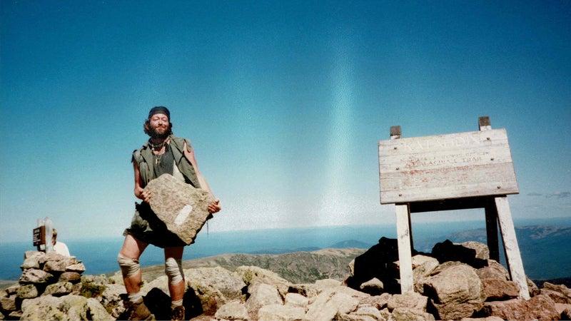 Baltimore Jack on the summit of Maine's Mount Katahdin in 1996