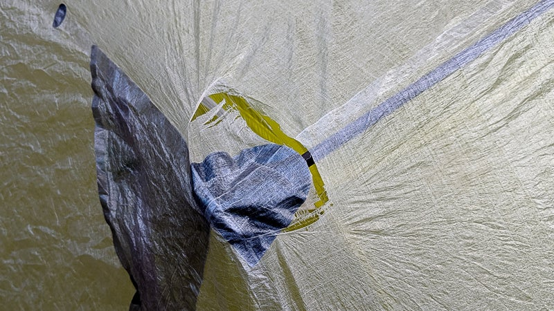 A $1,000 shelter should not tear during setup on its 22nd night out. The 0.34-ounce-per-square-yard Dyneema composite fabric is not worthy of anything more than just-in-case or emergency use.