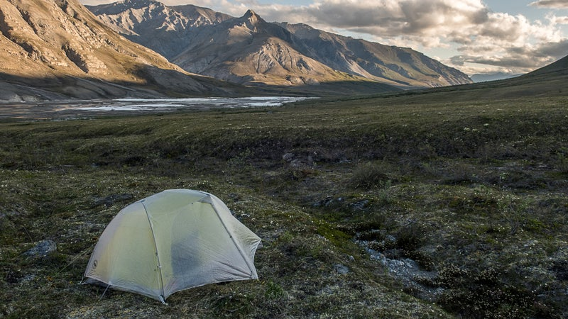 The Big Agnes Tiger Wall 2 Carbon is too good to be true. It's a semi-freestanding double-wall tent that weighs just 22 ounces for the fly, body, and poles. But it's too delicate and expensive. I used it on two eight-day trips in the Brooks Range (photo) and for another two weeks in Yosemite.
