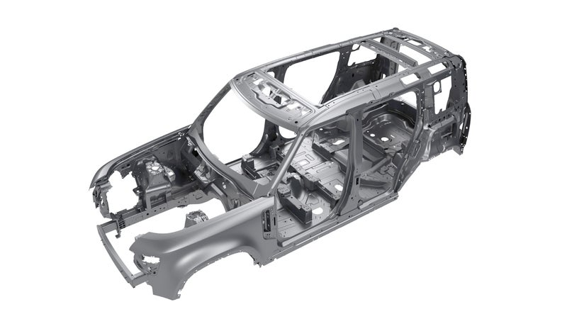 The Defender uses a heavily upgraded version of the Range Rover's monocoque chassis.