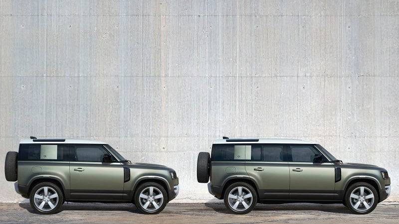 The Defender 90 is a two-door, while the 110 is a four-door.