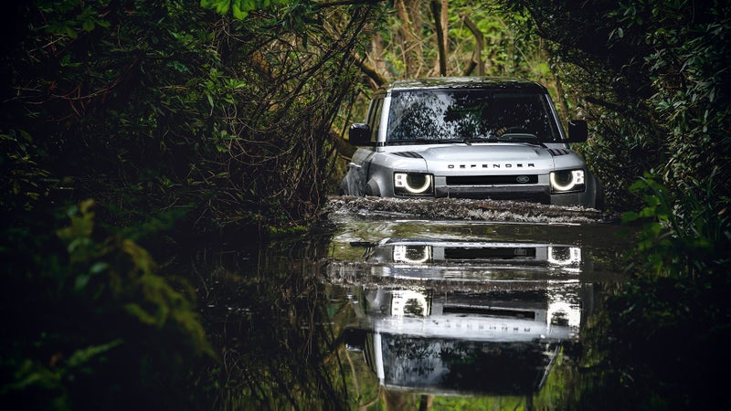 The new Defender can safely ford 35.4 inches of water, and automatically adjust its suspension, and other features to optimize wading performance.