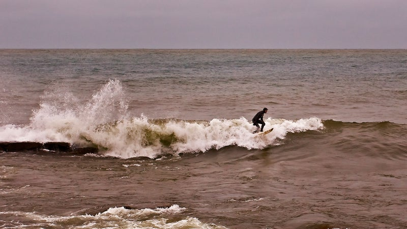 A surfer in Duluth
