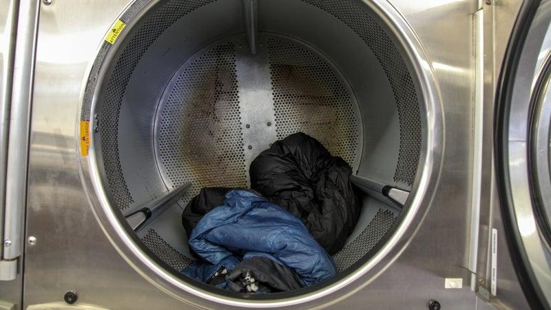 Sleeping bags in drying machine