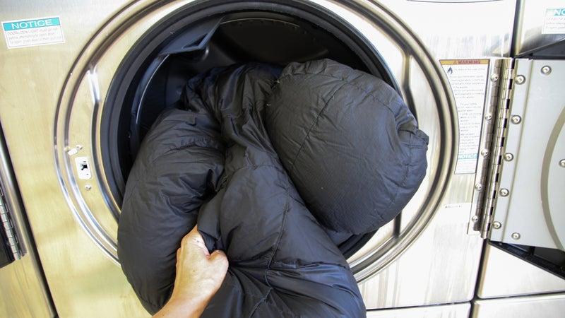 Wash sleeping bad with care