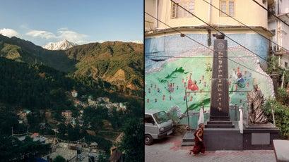 Dharamsala, India; right, a memorial to self-immolators near the Dalai Lama's temple in McLeod Ganj