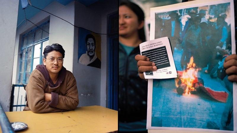 Gyaltsen Rangzen, a cousin of self-immolator Lobsang Jamyang; right, a scene from a march in McLeod Ganj on behalf of self-immolator Sonam Topgyal