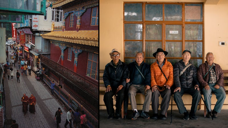 The streets of Dharamsala; right, Tibetan exiles resting during the kora