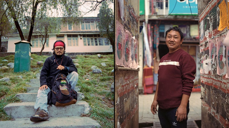 Author and activist Tenzin Tsundue, cousin of self-immolator Tenzin Choeying; right, Tenzin Phelgye, uncle of self-immolator Ngawang Norphel