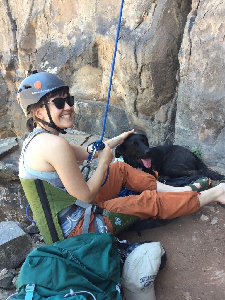 The author using her Hex 2.0 during a climbing trip in New Mexico.