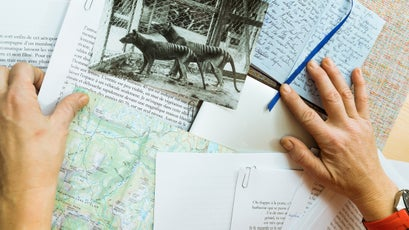Travel notes and maps for her next book