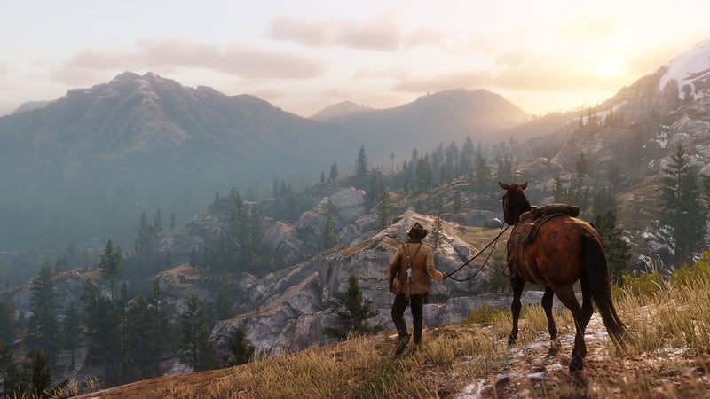 A rider in the landscape of Red Dead Redemption 2