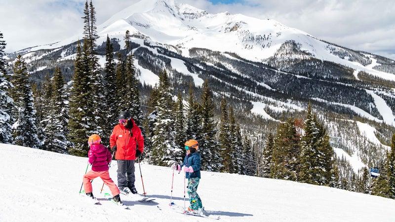 Ski lessons on Ambush at Big Sky Resort