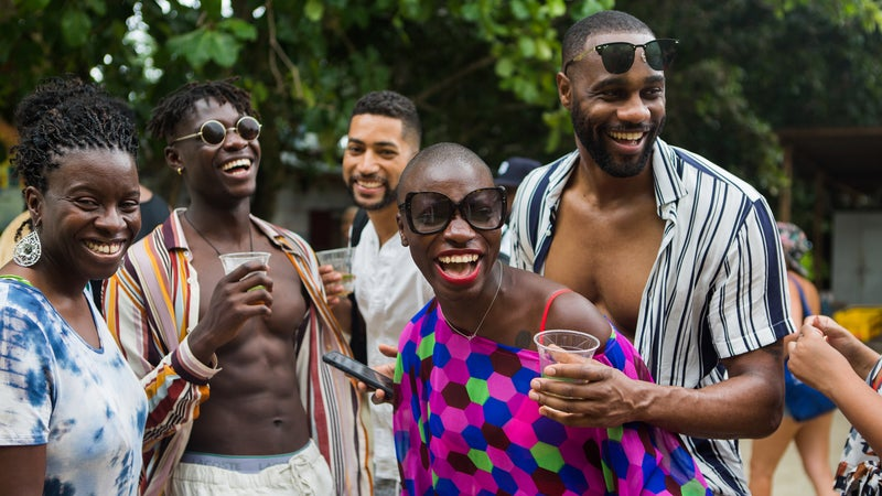 Nabongo celebrating her last country, the Seychelles, with friends and family