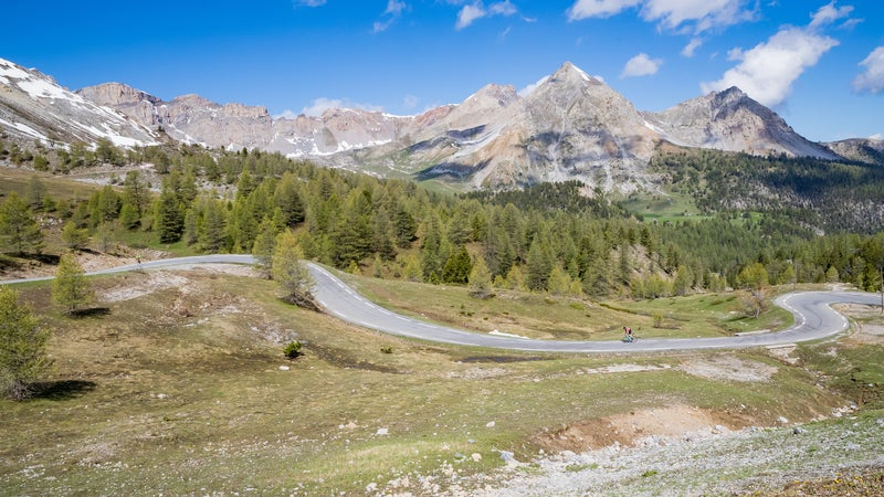 A winding road from the French town of Briançon leads up to Col d'Izoard at 7,743 feet, a pass that frequently features in the Tour de France as a climb rated hors catégorie.