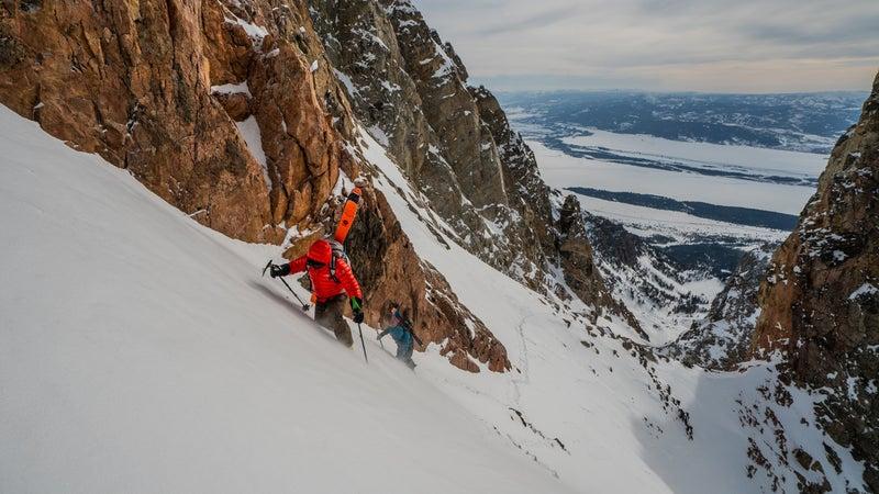 Jimmy Chin and Townsend climbing the Grand Teton
