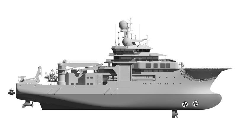 A rendering of OceanX's forthcoming exploration and filmmaking vessel