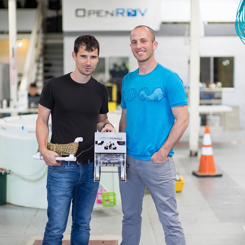 Sofar's Eric Stackpole (left) and David Lang with an early iteration of their drone