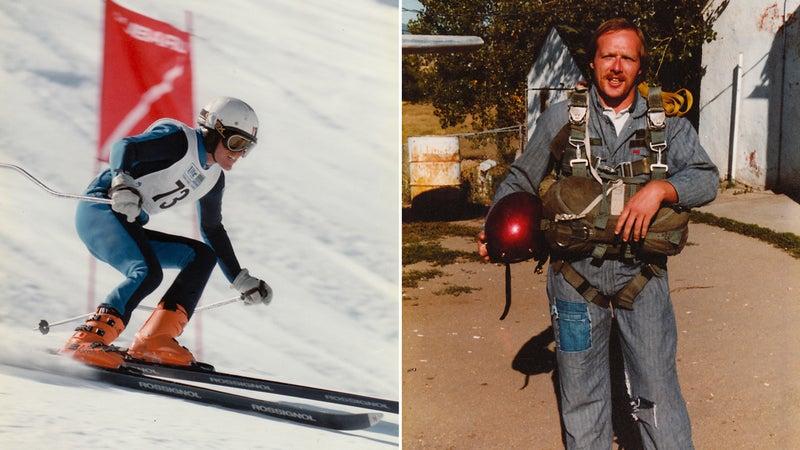 Ferrara downhill racing in Aspen, 1986; pre-skydive, early eighties
